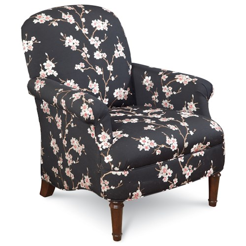 Thomasville® Upholstered Chairs and Ottomans Kinley Chair with Roll Pleated Arms and Turned Wood Legs
