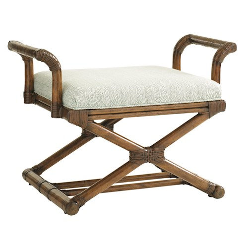 Tommy Bahama Home Bali Hai Echo Beach Bench Tropical Bench with Rattan Frame