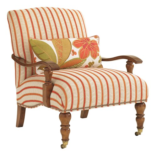 Tommy Bahama Home Bali Hai San Carlos Chair with Exposed Wood Arms and Casters