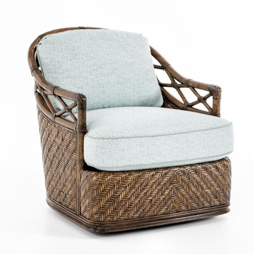 Tommy Bahama Home Bali Hai Diamond Cove Swivel Chair with Wicker and Rattan Accents