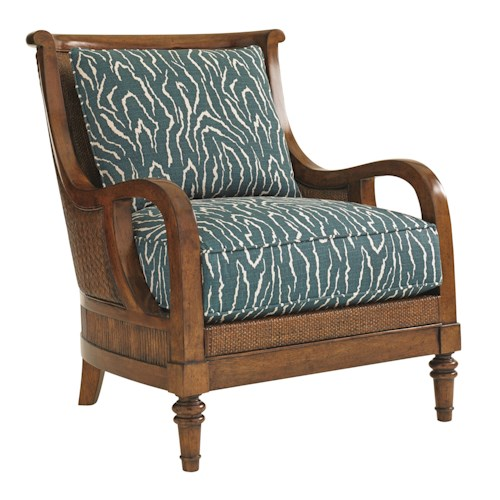 Tommy Bahama Home Bali Hai Island Paradise Chair with Intricate Wood and Woven Wicker Frame