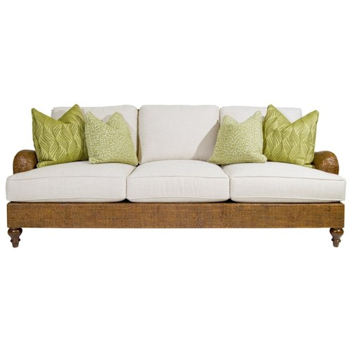 Tommy Bahama Home Bali Hai Harborside Sofa with Woven Dark Wicker Frame