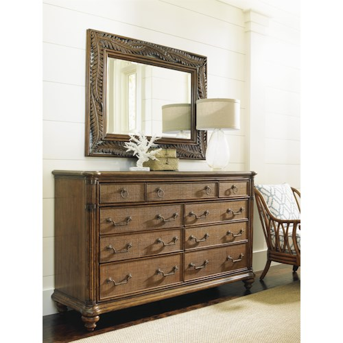 Tommy Bahama Home Bali Hai Costa Sera Triple Dresser and Seabrook Landscape Mirror Set