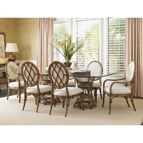 Tommy Bahama Home Bali Hai Tropical Double Pedestal 7 Piece Dining Set