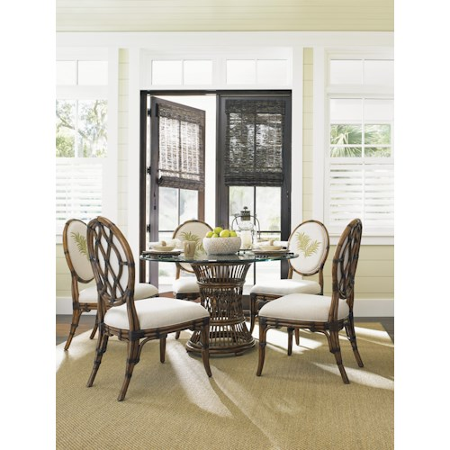 Tommy Bahama Home Bali Hai Tropical 7 Piece, Single Pedestal Dining Set