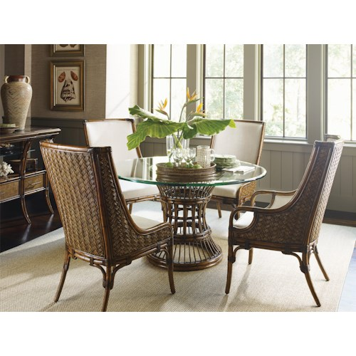 Tommy Bahama Home Bali Hai Tropical 5 Piece, Single Pedestal Dining Room Set