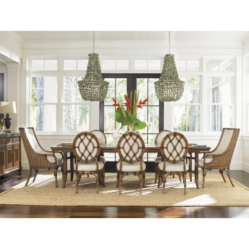 Tommy Bahama Home Bali Hai Tropical 9 Piece Dining Set