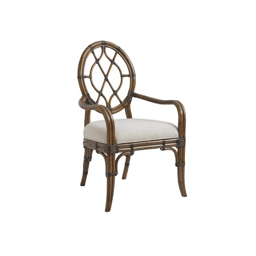 Tommy Bahama Home Bali Hai Customizable Cedar Key Oval Back Arm Chair