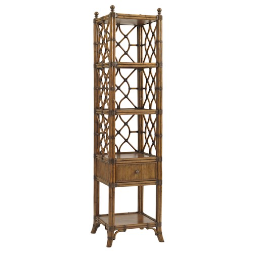Tommy Bahama Home Bali Hai Tropical Atlantis Etagere with Bent Rattan Latticework