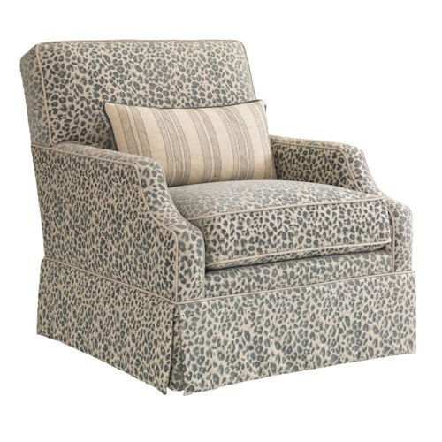 Tommy Bahama Home Bali Hai Courtney Swivel Chair with Kick Pleat Skirt