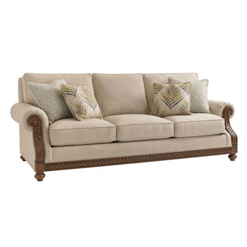 Tommy Bahama Home Bali Hai Quickship Shoreline Sofa with Fern Leaf Carvings