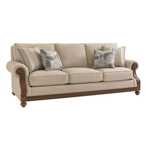 Tommy Bahama Home Bali Hai Customizable Shoreline Sofa with Fern Leaf Carvings