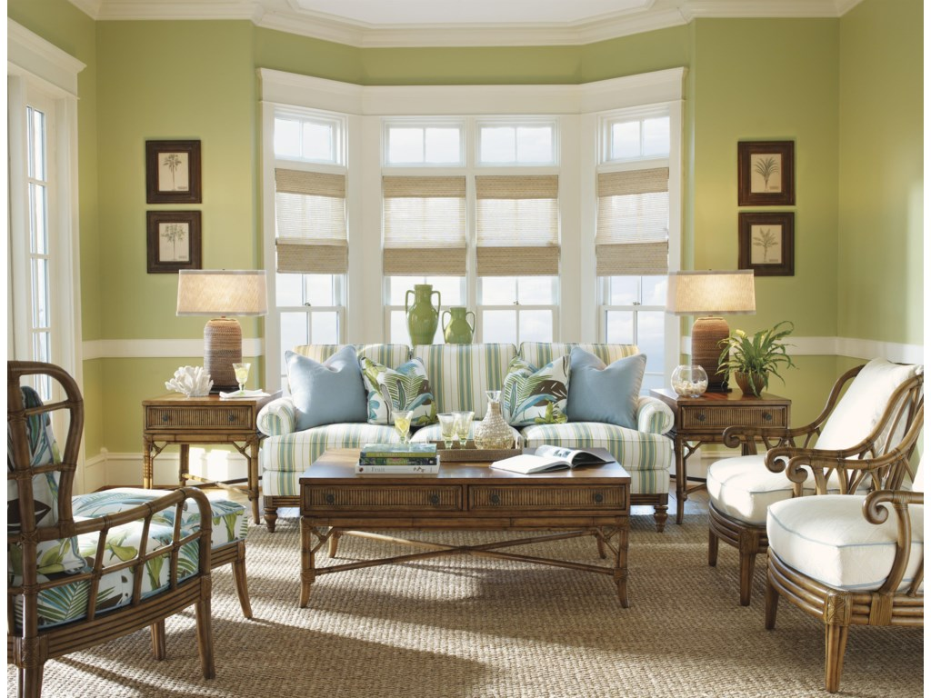 Shown with Ponte Vedra Rectangular Cocktail Table, Sunset Cove Chair and Ottoman, Heron Lamp Tables, and Ocean Breeze Chairs