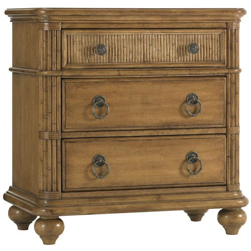 Tommy Bahama Home Beach House Three-Drawer Delray Nightstand with Bamboo Drawer Front Accents