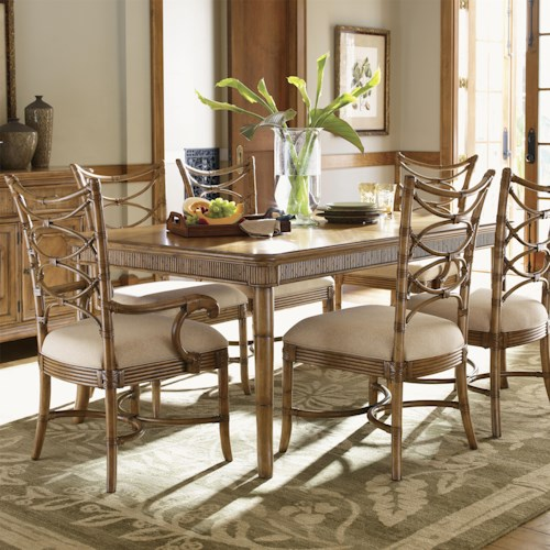Tommy Bahama Home Beach House Seven-Piece Boca Grande Rectangular Table & Sanibel Bent Rattan Chairs Set