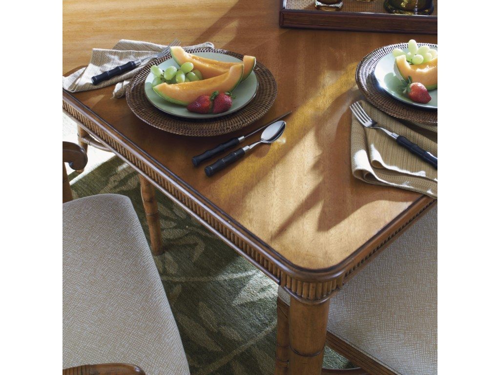 A Reeded Bamboo Apron and Exotic Mango Veneer Tabletop Offers Striking Style