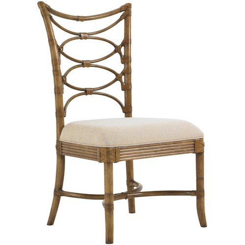 Tommy Bahama Home Beach House <b>Customizable</b> Sanibel Side Chair with Leather-Wrapped Bent Rattan Back