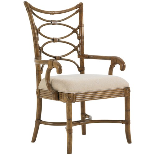 Tommy Bahama Home Beach House <b>Quick Ship</b> Sanibel Arm Chair with Leather-Wrapped Bent Rattan Back