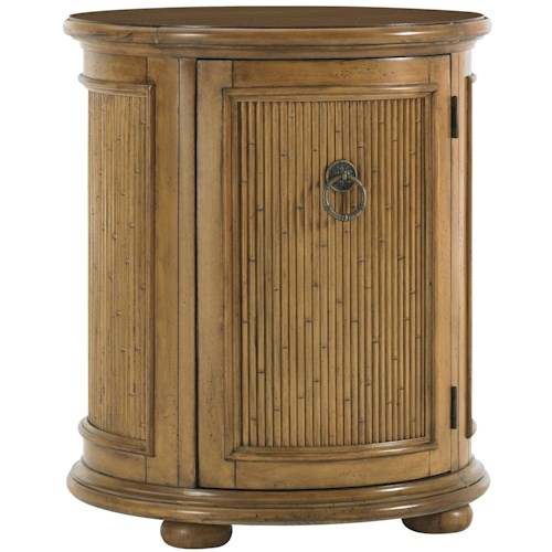 Tommy Bahama Home Beach House Round Drum-Style Pompano Accent Table with One Door & One Shelf