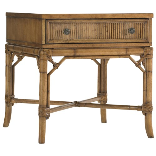 Tommy Bahama Home Beach House One-Drawer Heron Lamp Table with Bamboo & Rattan Accents
