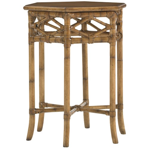 Tommy Bahama Home Beach House Leather-Wrapped Bent Rattan Hexagonal Coral Springs Accent Table