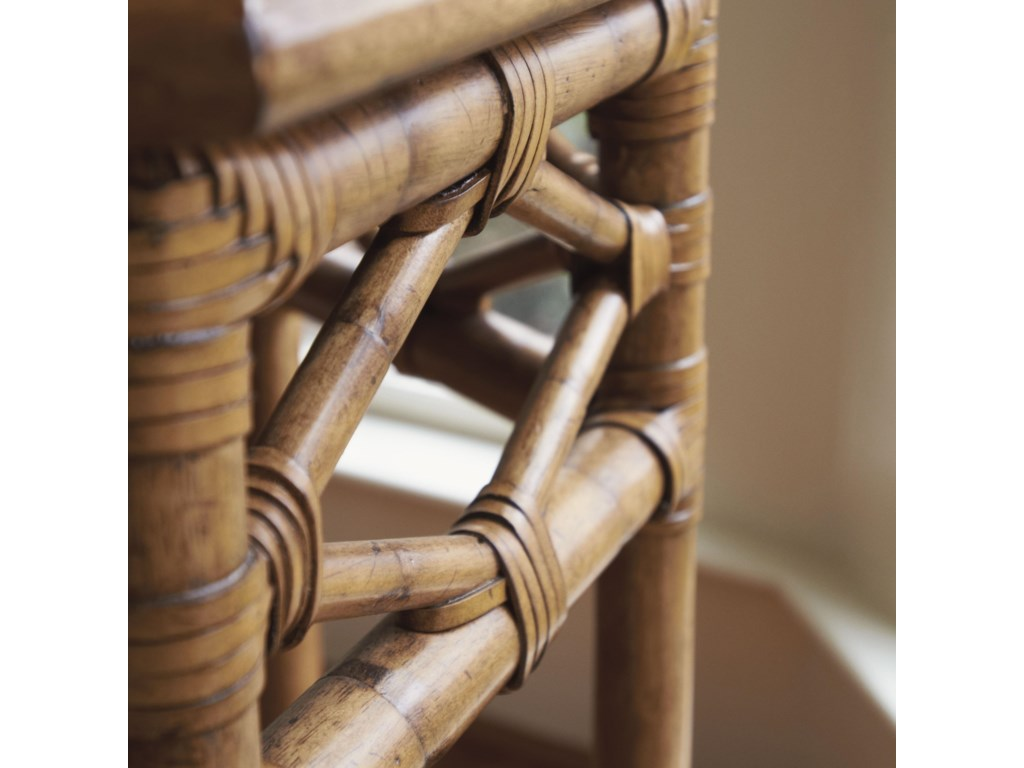 Leather Wrapped Bent Rattan Creates a Pierced-Diamond Motif