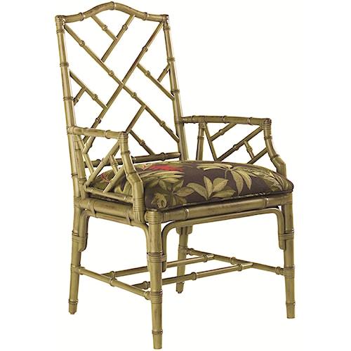 Tommy Bahama Home Island Estate <b>Customizable</b> Ceylon Arm Chair with Rattan Frame