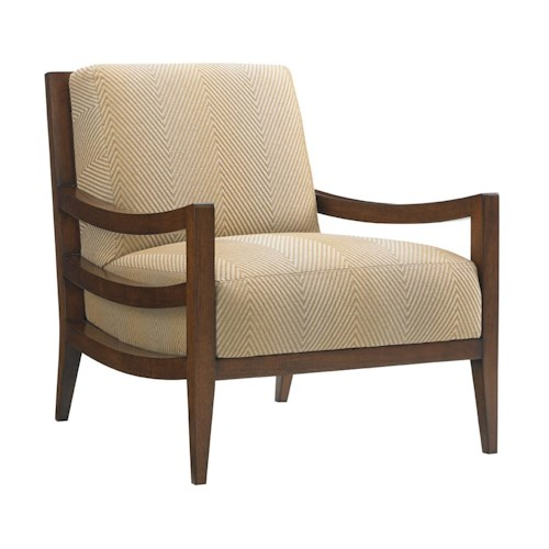 Tommy Bahama Home Island Fusion Singapore Chair with Exposed Wood and Raffia Frame