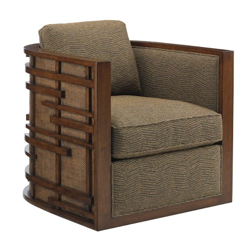 Tommy Bahama Home Island Fusion Semerang Asian-Inspired Swivel Chair with Decorative Wood Fretwork