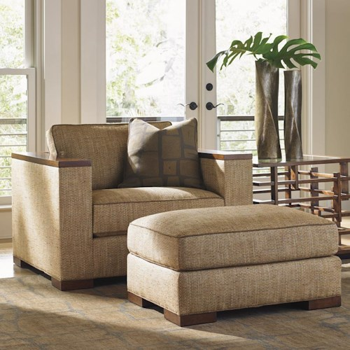 Tommy Bahama Home Island Fusion Fuji Modern Chair and Ottoman Set