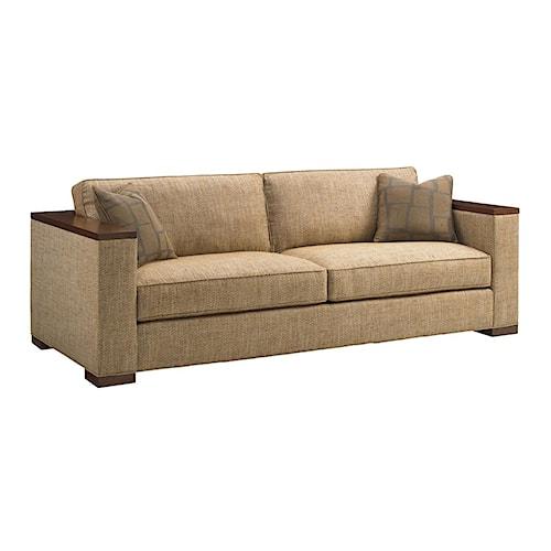 Tommy Bahama Home Island Fusion Fuji Modern Sofa with Exposed Wood Ledge