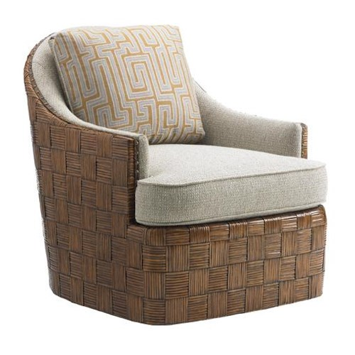 Tommy Bahama Home Island Fusion Nagano Swivel Chair with Patterned Rattan Frame
