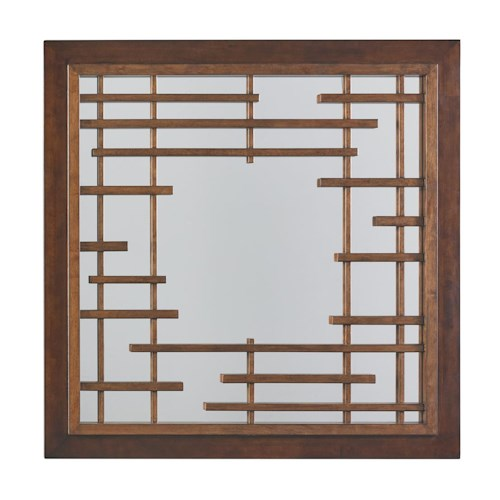 Tommy Bahama Home Island Fusion Mikasa Square Mirror with Asian Fretwork Design