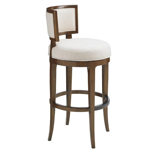 Tommy Bahama Home Island Fusion Macau Swivel Bar Stool in Ivory