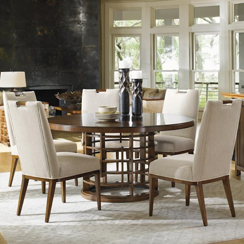 Tommy Bahama Home Island Fusion Meridien Dining Table and Coles Bay Side Chair Set