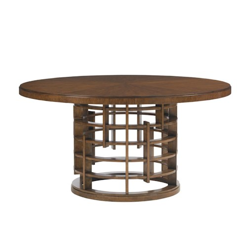 Tommy Bahama Home Island Fusion Meridien Round Dining Table with Wood Top