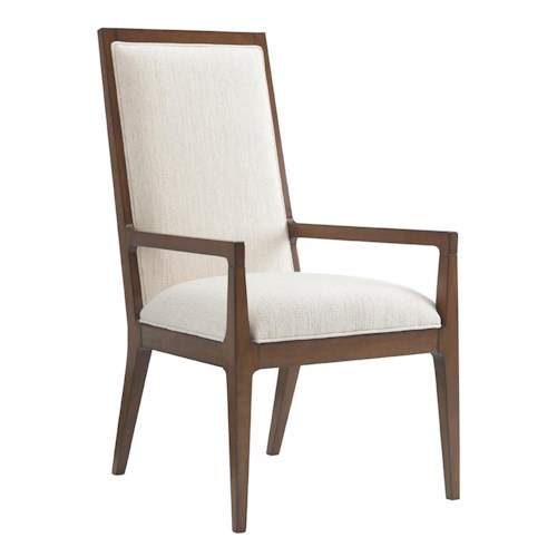 Tommy Bahama Home Island Fusion Natori Slat Back Arm Chair in Ivory Fabric