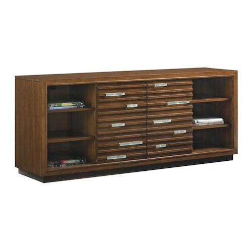 Tommy Bahama Home Island Fusion Princeville Media Console with Fused Glass Accents and Wire Management