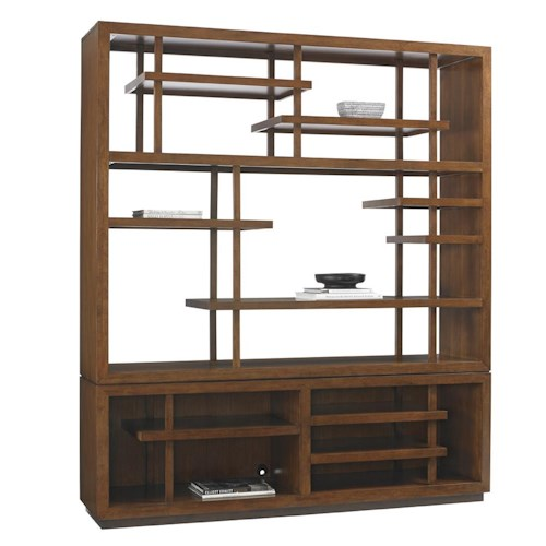 Tommy Bahama Home Island Fusion Taipei Asian-Inspired Media Bookcase with Wire Management Openings