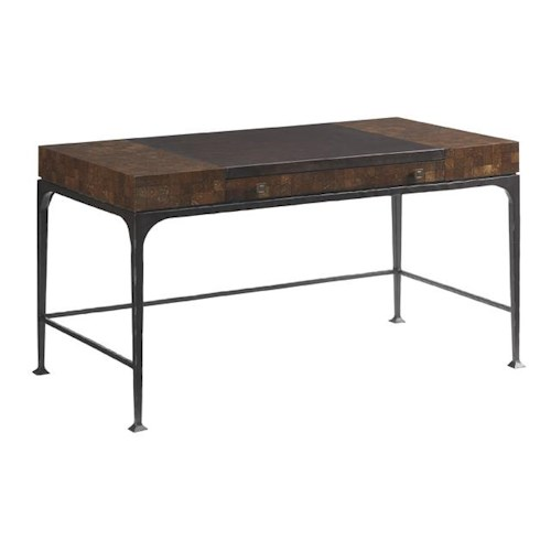 Tommy Bahama Home Island Fusion Borneo Writing Desk with Coconut Shell Inlay and Leather Top
