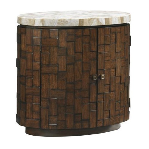 Tommy Bahama Home Island Fusion Banyan Oval Accent Table with Stone Top and Interior Storage