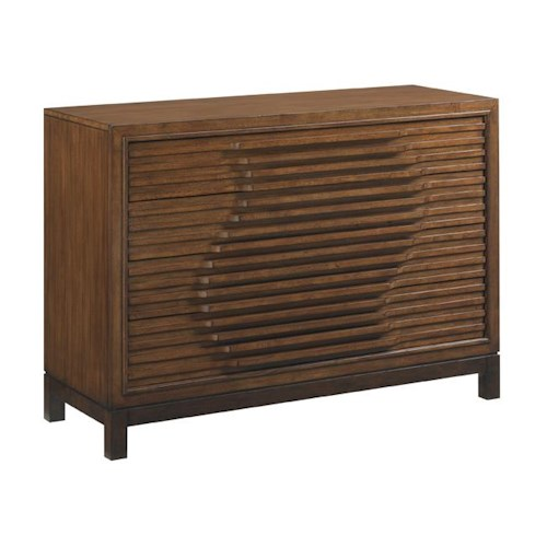 Tommy Bahama Home Island Fusion Madura Asian-Inspired Hall Chest with Wave Relief Pattern