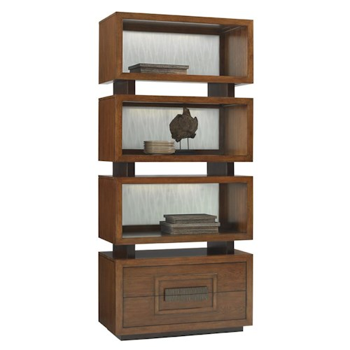 Tommy Bahama Home Island Fusion Tonga Pan Asian Bookcase with Sea Glass Backsplash and LED Lighting