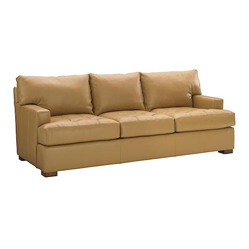 Tommy Bahama Home Island Fusion Osaka Quickship Leather Sofa with Tufted Seat