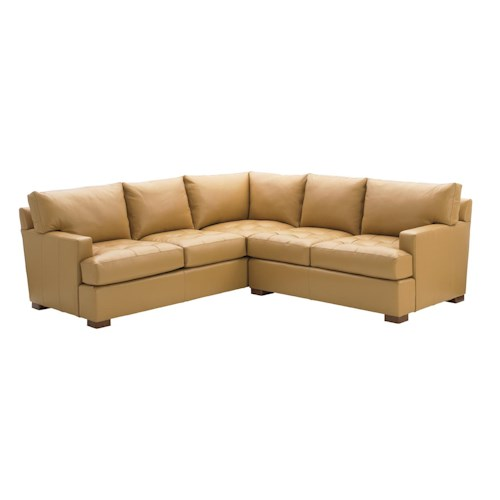 Tommy Bahama Home Island Fusion Osaka Leather Sectional Sofa with Tufted Seat