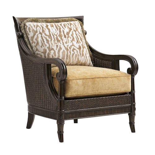 Tommy Bahama Home Island Traditions Tropical Stafford Chair with Exposed Wood and Woven Rattan Frame
