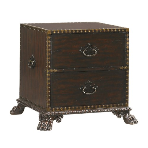 Tommy Bahama Home Island Traditions Traditional Bradford Campaign Trunk End Table with Two Drawers and Lion's Paw Feet