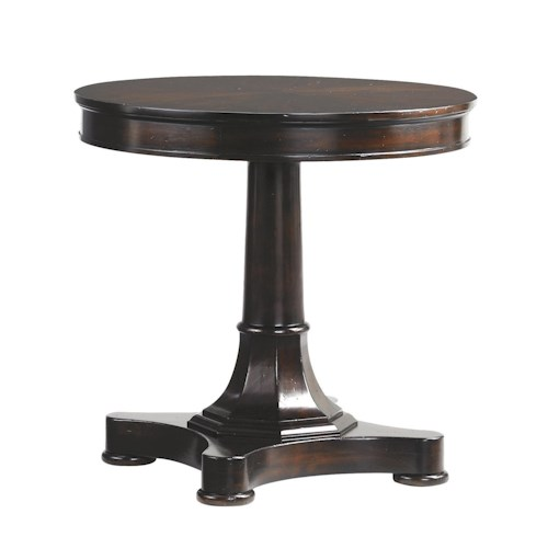 Tommy Bahama Home Island Traditions Traditional Middleton Round Lamp Table with Pedestal Base