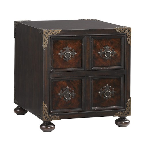 Tommy Bahama Home Island Traditions Traditional Bromwich Chairside Chest with Tortoise Shell Inlay and Decorative Corner Caps