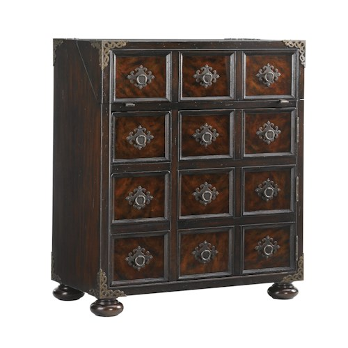 Tommy Bahama Home Island Traditions Traditional Churchill Bar with Faux Tortoise Shell Inlay and Storage for Wine Bottles and Glasses